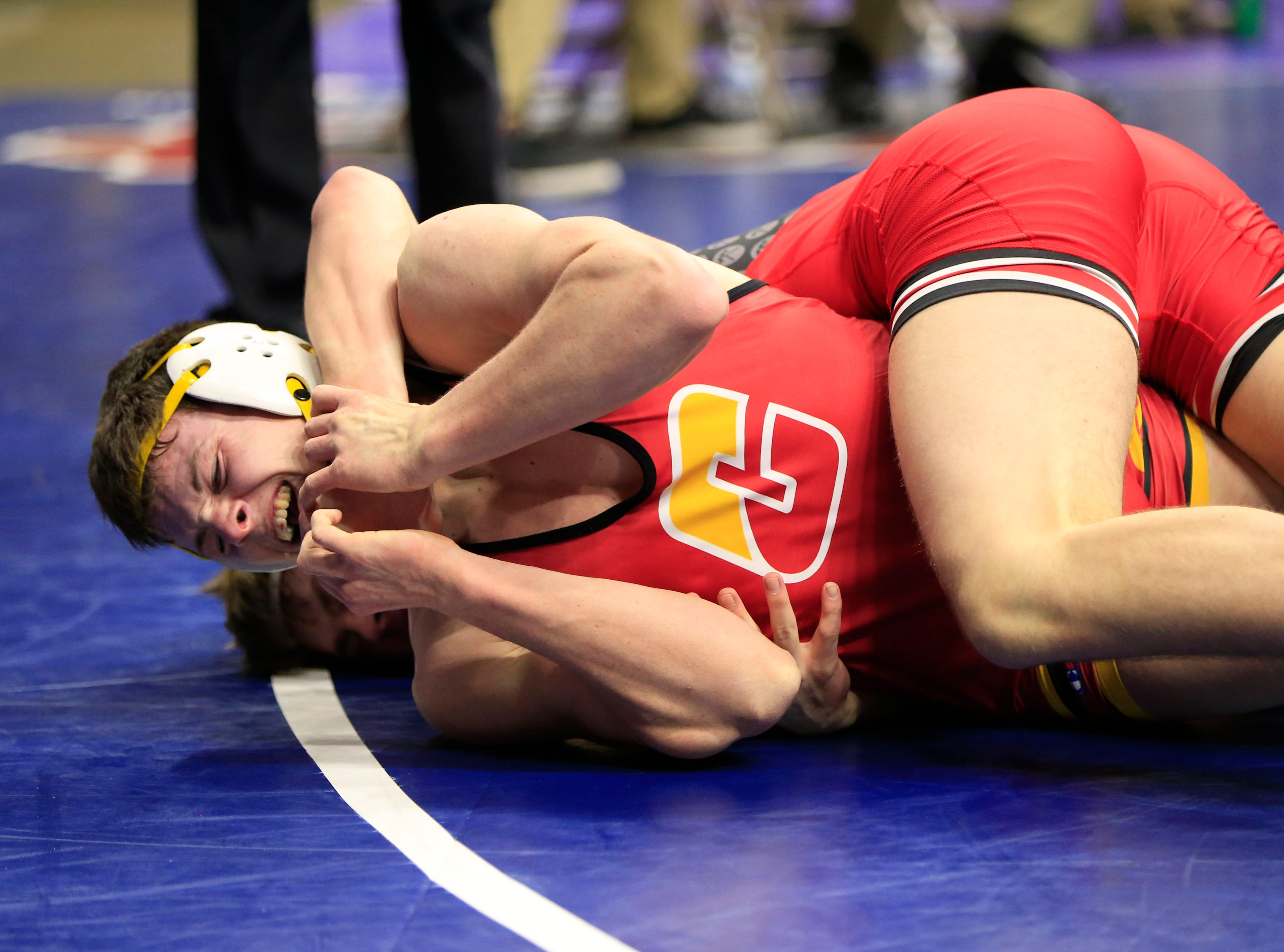 Evan Rosonke of NH/TV defeats Ethan Reed of Carlisle during a 182 Lb 2A quarterfinal match at the state wrestling tournament Friday, Feb. 15, 2019.