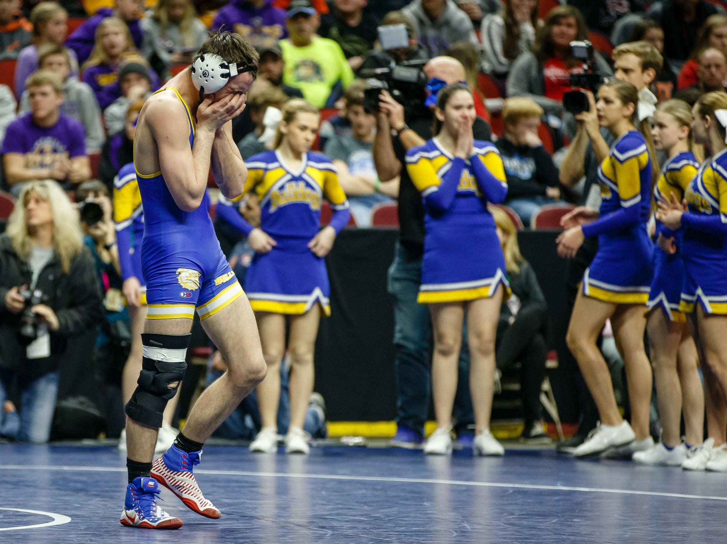 Michael Egan of MFL, MarMac reacts after loosing to Wade Mitchell of Woodbury Central during their class 1A 145 pound state championship semi-final match on Friday, Feb. 15, 2019 in Des Moines.