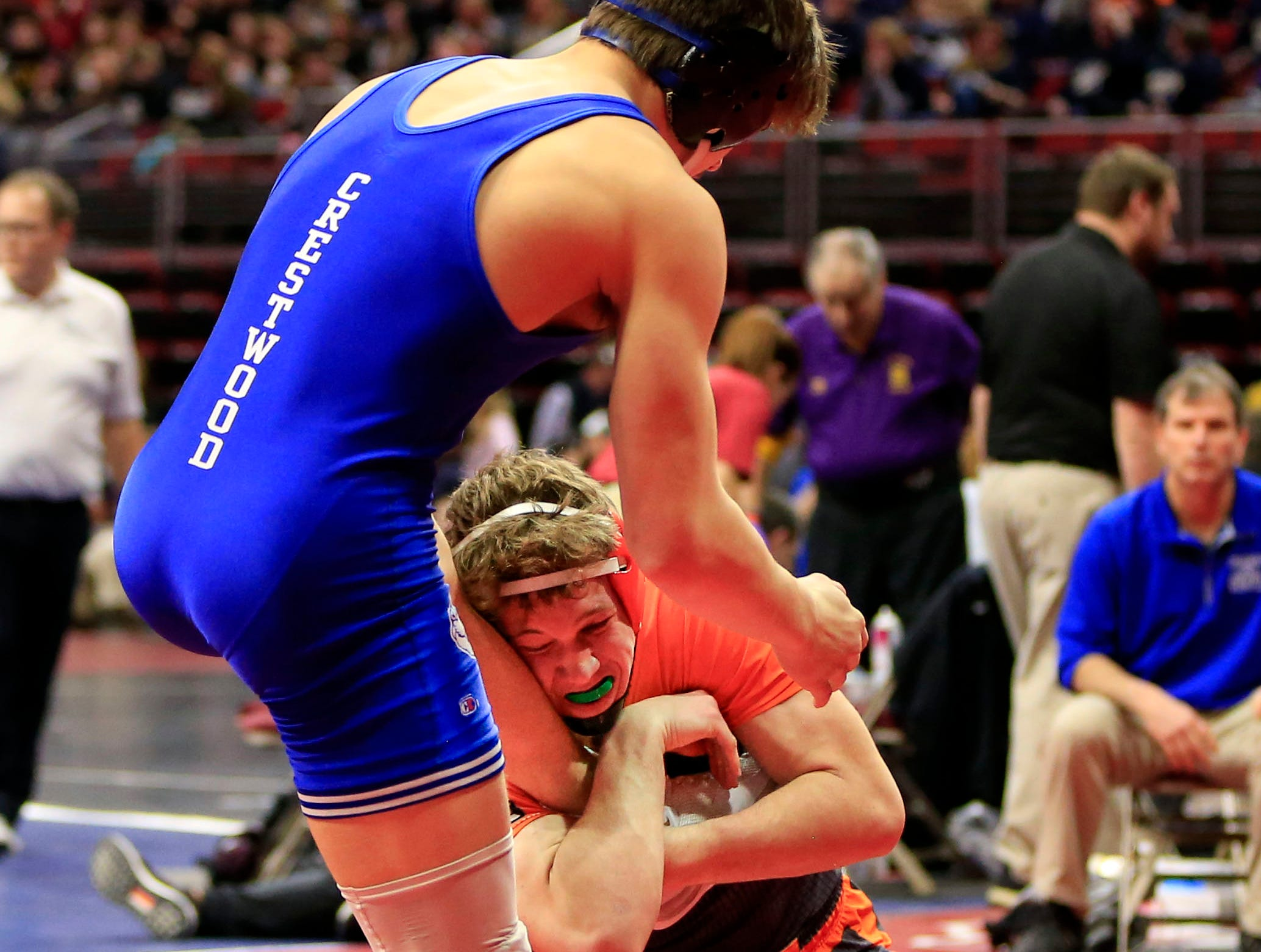 Colter Bye of Crestwood, Cresco defeats Jax Flynn of Solon during a 170 Lb 2A quarterfinal match at the state wrestling tournament Friday, Feb. 15, 2019.