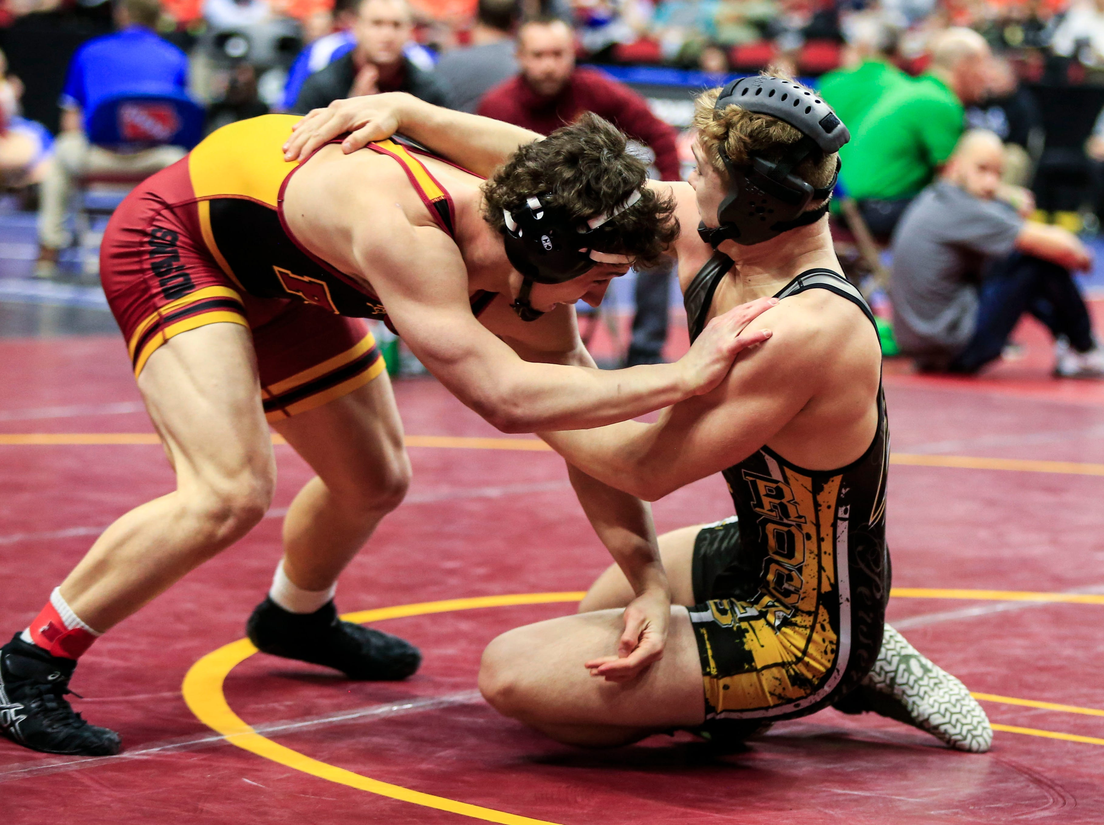 Sage Walker of Eddyville-Blakesburg-Fremont defeats Jarron Trausch of PCM, Monroe during a 170 Lb 2A quarterfinal match at the state wrestling tournament Friday, Feb. 15, 2019.