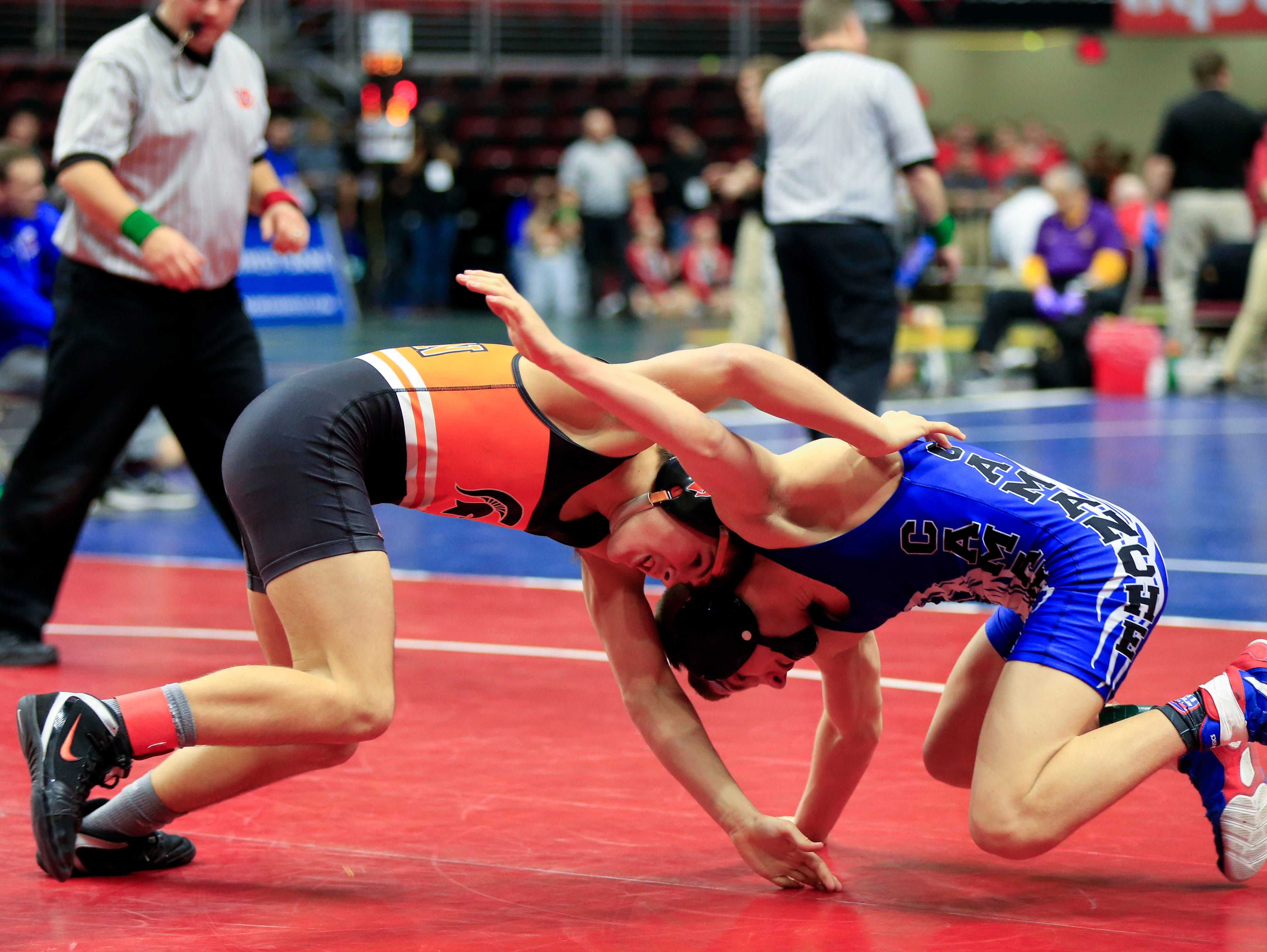 Hayden Taylor of Solon defeats Eric Kinkaid of Camanche during a 126 Lb 2A quarterfinal match at the state wrestling tournament Friday, Feb. 15, 2019.