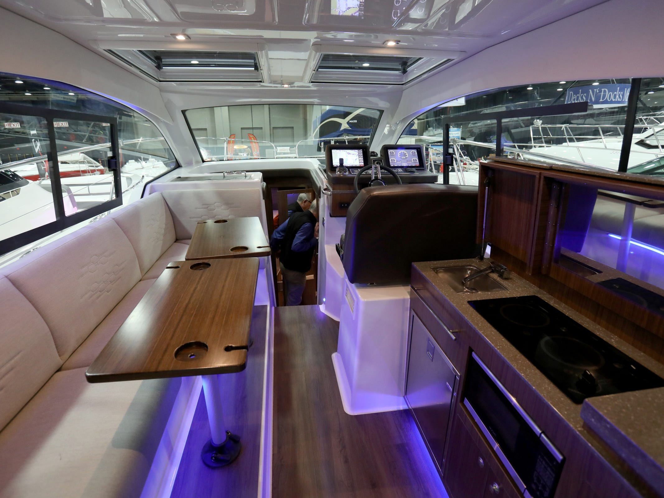The interior view of the Tiara 39 foot Coupe for sale at $695,000 at the Skipper Buds display during the week long Detroit Boat Show at Cobo Center in Detroit on Saturday, February 16, 2019.