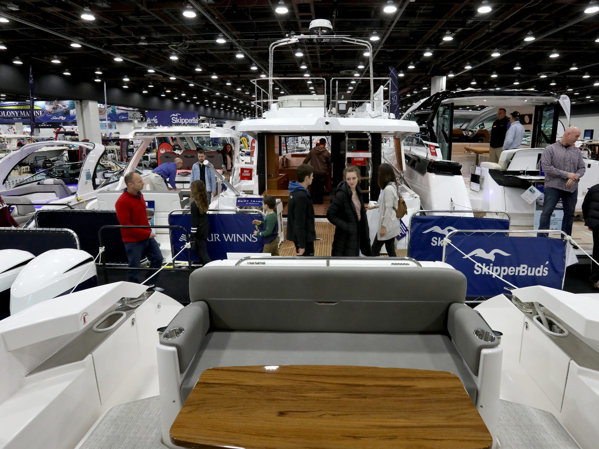 A look out of the back of the Tiara 39 foot Coupe for sale at $695,000 at the Skipper Buds display during the week long Detroit Boat Show at Cobo Center in Detroit on Saturday, February 16, 2019.