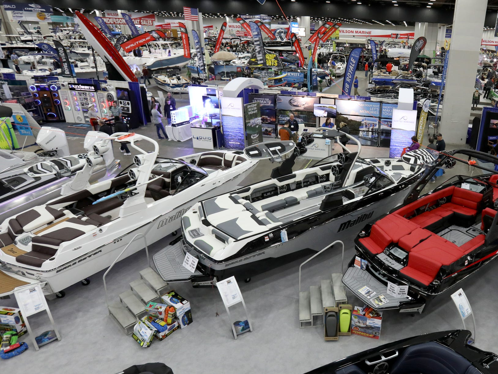 Boats took over the large convention floor space during the week long Detroit Boat Show at Cobo Center in Detroit on Saturday, February 16, 2019.