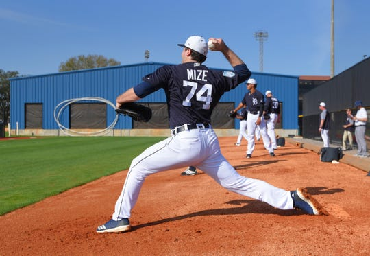 Detroit Tigers pitcher Casey Mizes throws during a bullpen session on Feb. 16, 2019 in Lakeland, Florida.