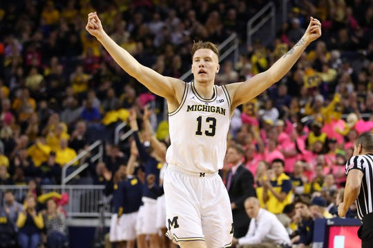 Michigan's Ignas Brazdeikis celebrates a 3-point basket in the first half against Maryland at Crisler Center on Feb. 16, 2019 in Ann Arbor.