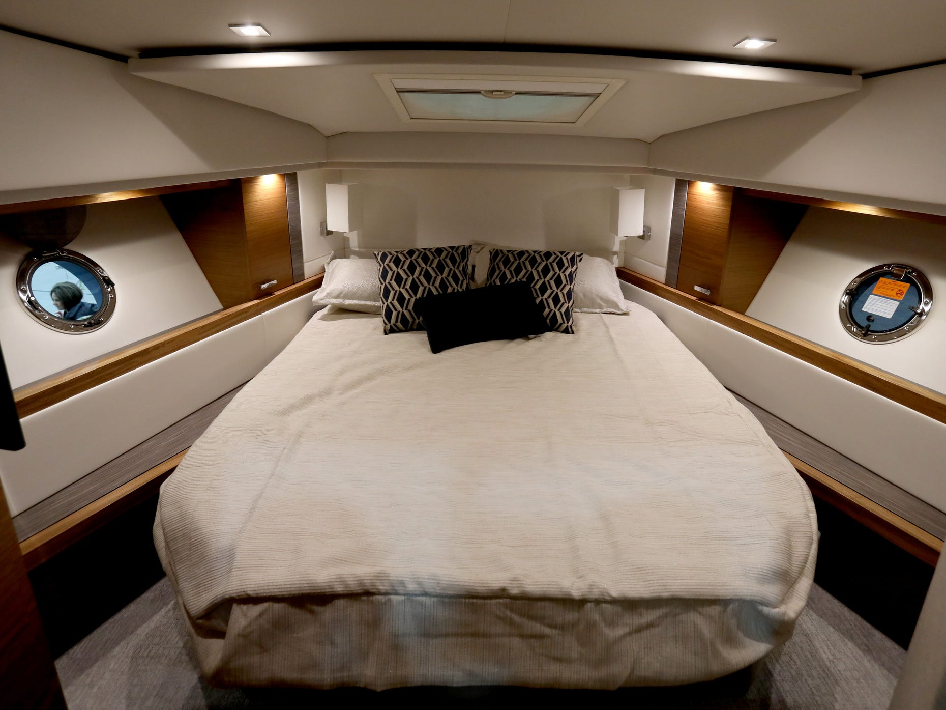 The interior view of the main bedroom inside the Tiara 39 foot Coupe for sale at $695,000 at the Skipper Buds display during the week long Detroit Boat Show at Cobo Center in Detroit on Saturday, February 16, 2019.