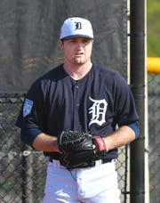 Detroit Tigers pitcher Casey Mize prepares to throw during a bullpen session on Saturday, Feb. 16, 2019, in Lakeland, Florida.