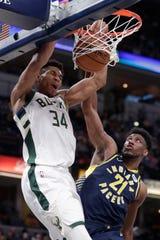Bucks forward Giannis Antetokounmpo dunks over Pacers forward Thaddeus Young, Feb. 13.