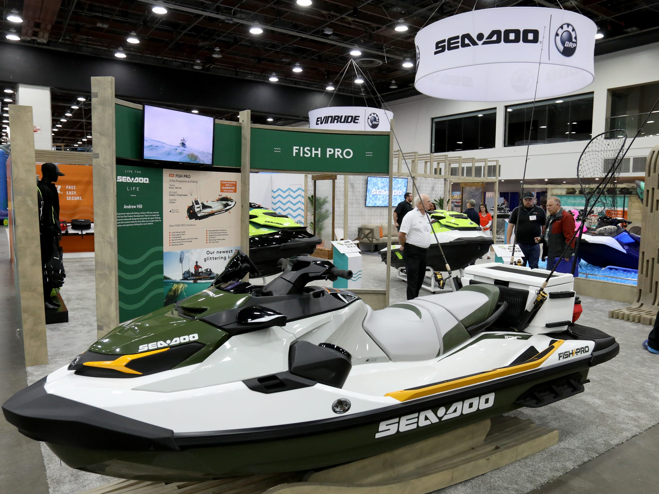 One of the newest personal watercraft on display at the Detroit Boat Show at Cobo Center in Detroit on Saturday, February 16, 2019 was See-Doo's new Fish Pro jet ski that has been outfitted for fishing. .