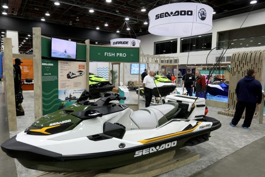 One of the newest personal watercraft on display at the Detroit Boat Show at Cobo Center in Detroit on Saturday, February 16, 2019 was See-Doo's new Fish Pro jet ski that has been outfitted for fishing. 
