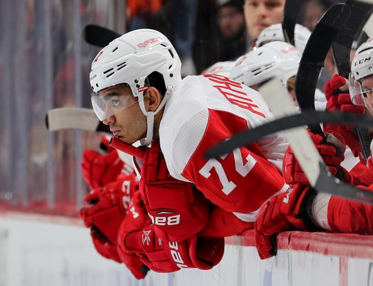 Andreas Athanasiou of the Detroit Red Wings reacts in the third period against the Philadelphia Flyers at Wells Fargo Center on Feb. 16, 2019 in Philadelphia.