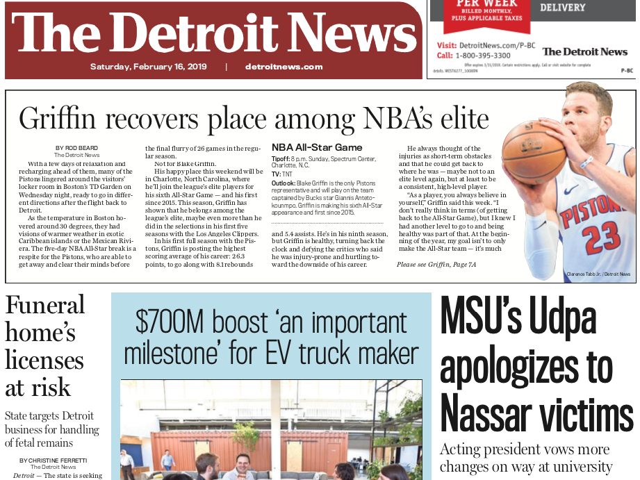 The front page of the Detroit News on Saturday February 16, 2019