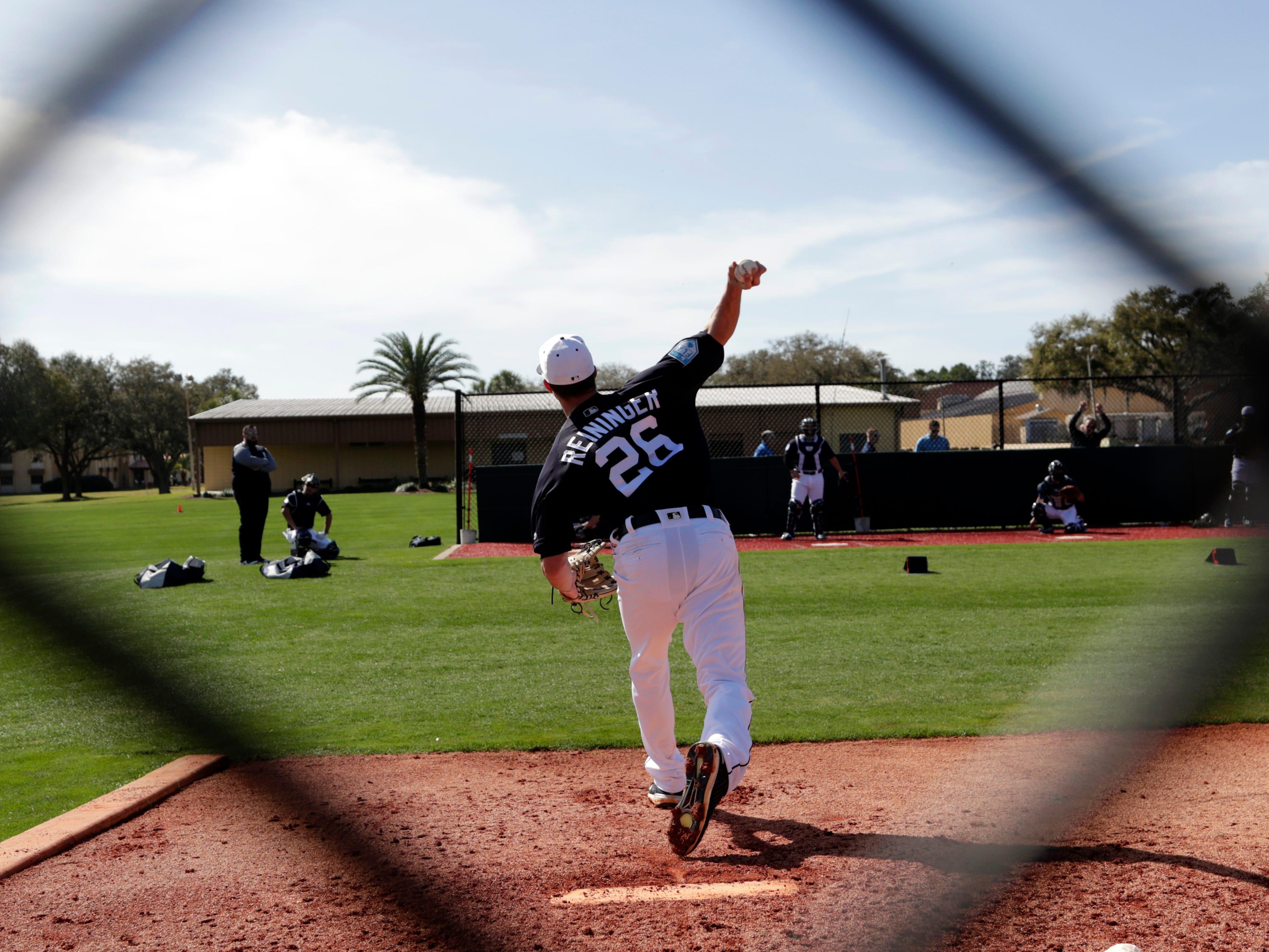 Detroit Tigers relief pitcher Zac Reininger (26) throws in the bullpen.