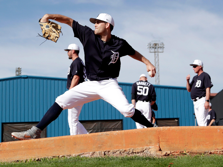 Detroit Tigers starting pitcher Matthew Boyd throws in the bullpen.