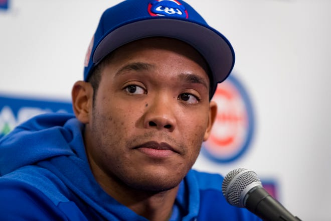 Chicago Cubs shortstop Addison Russell addresses the media about his suspension for domestic violence.