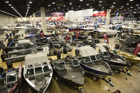Various types of boats are on display at the Detroit Boat Show at Cobo Center on Saturday, February 16, 2018.  