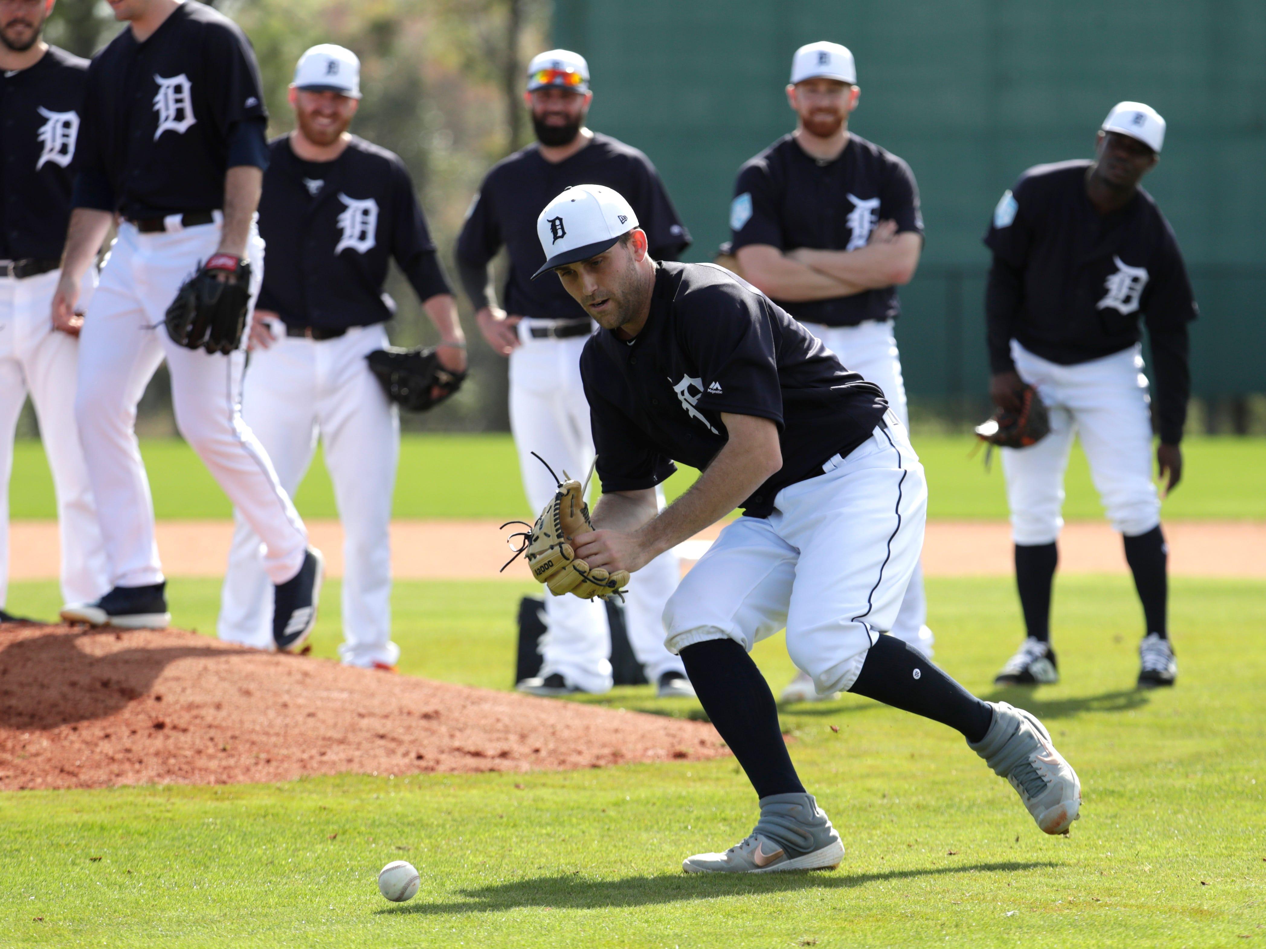 Detroit Tigers starting pitcher Matthew Boyd does drills.