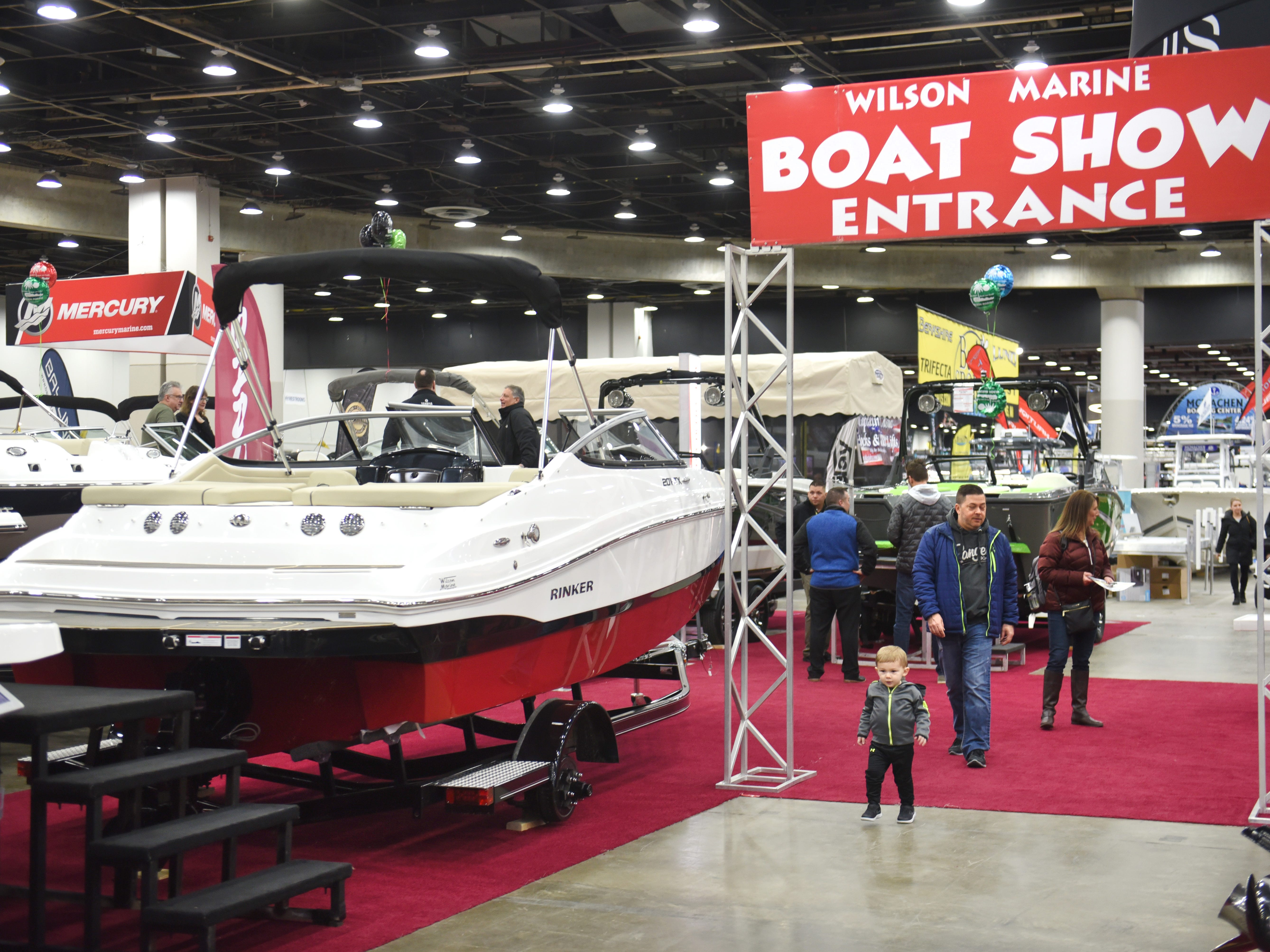 Plenty of watercraft are on display at the Detroit Boat Show at Cobo Center in Detroit on Saturday, February 16, 2018.
