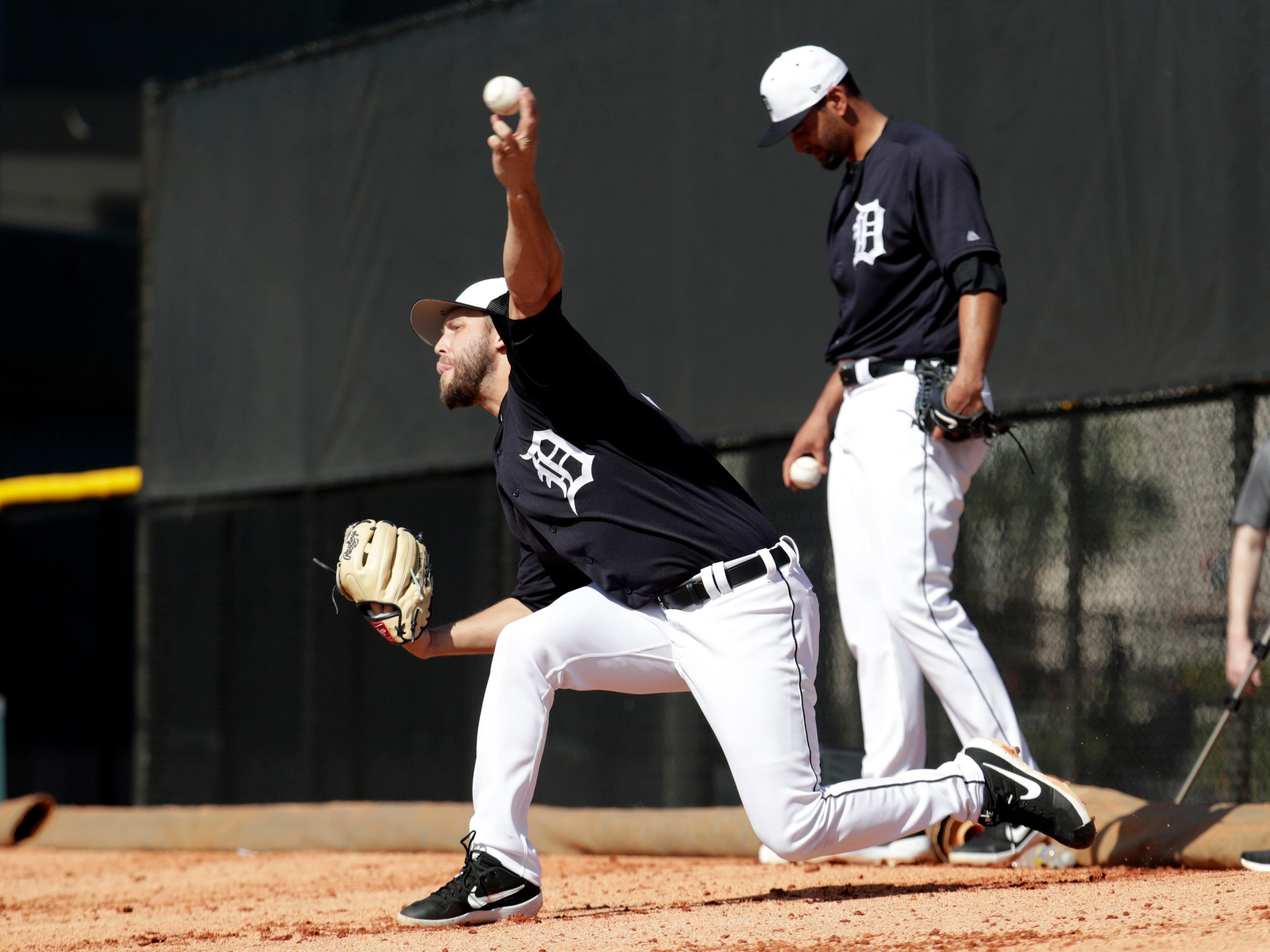 Detroit Tigers pitcher Matt Hall throws in the bullpen.