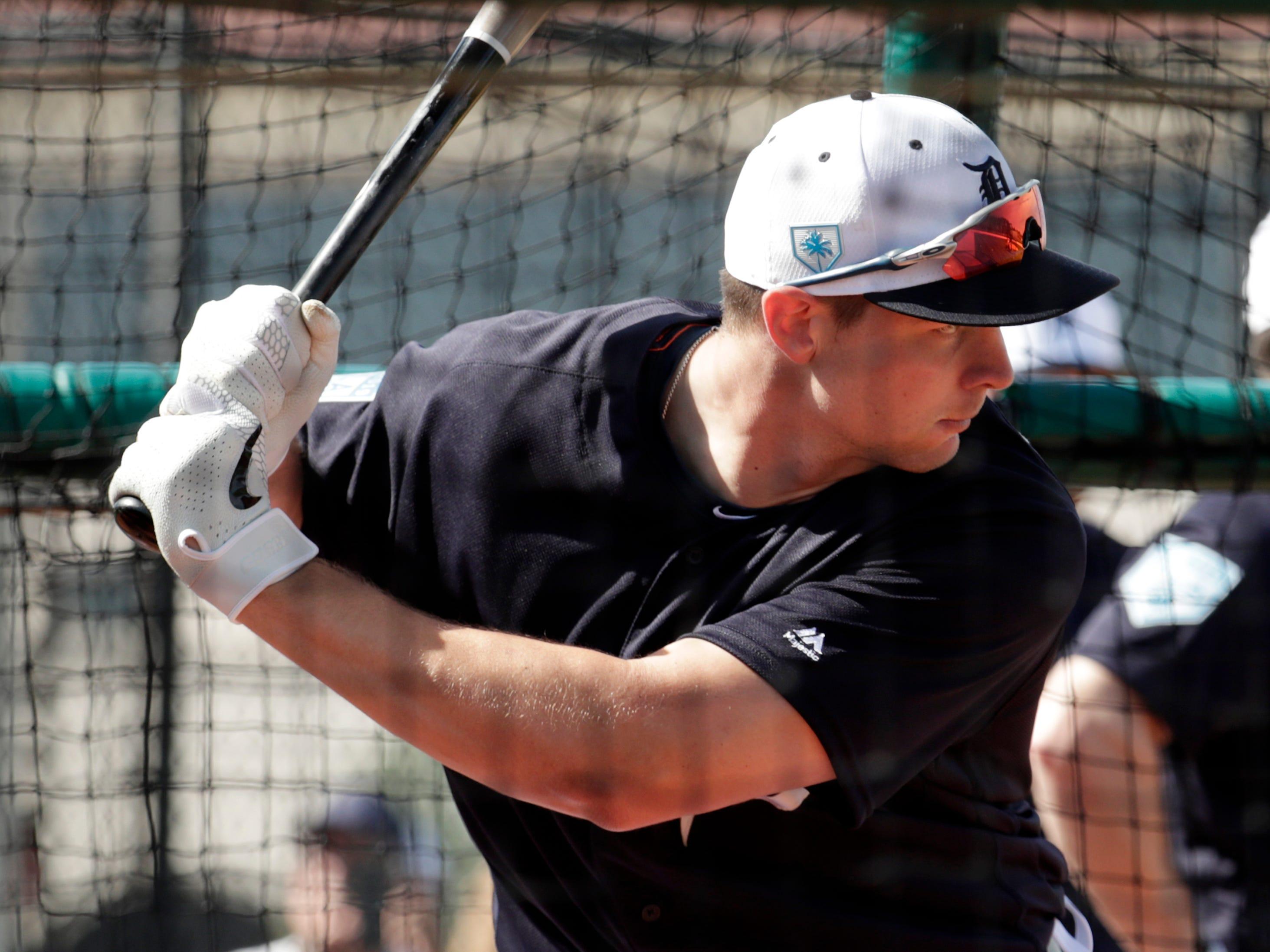 Detroit Tigers catcher Grayson Greiner bats.