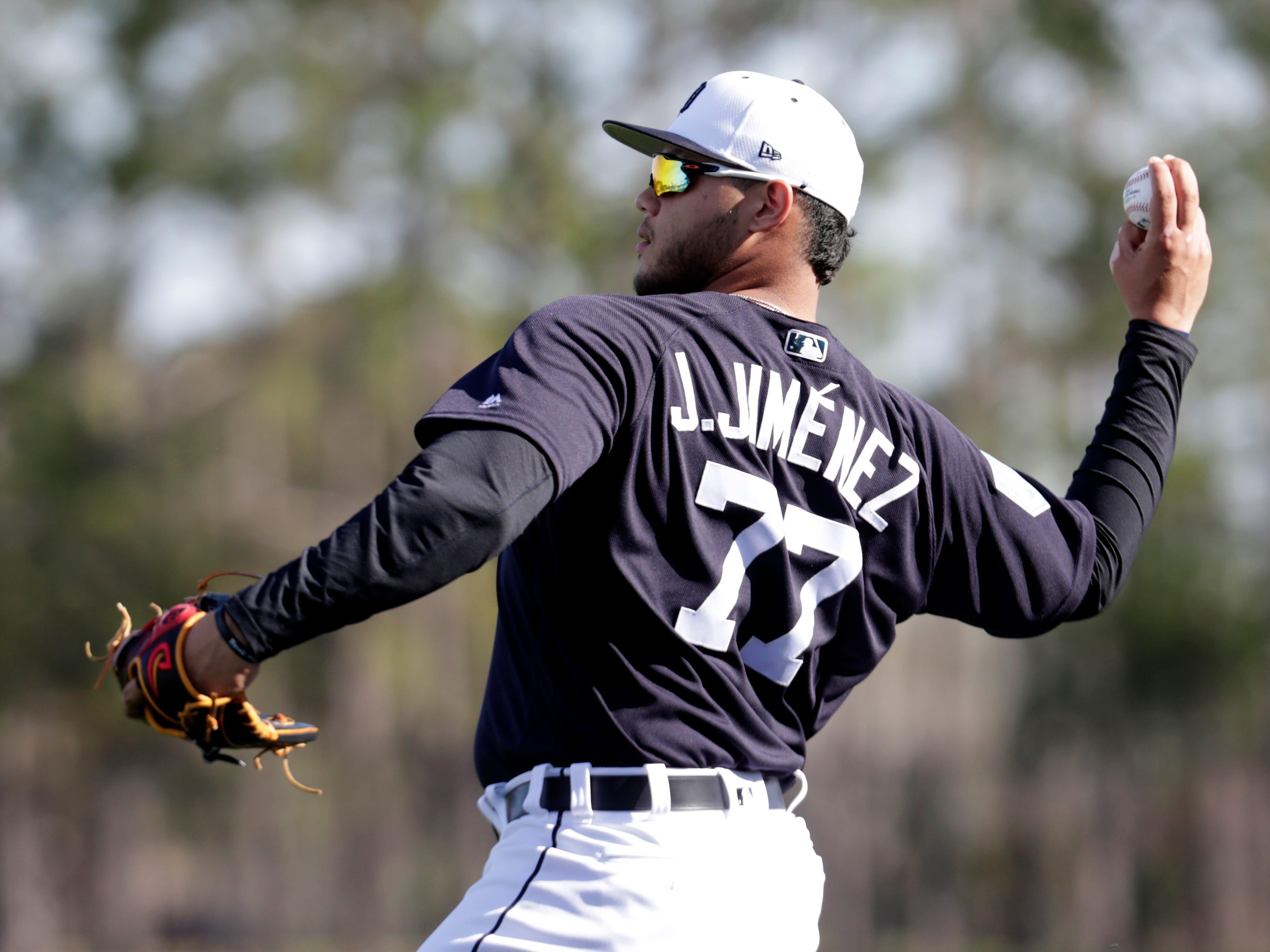 Detroit Tigers relief pitcher Joe Jimenez (77) does drills.