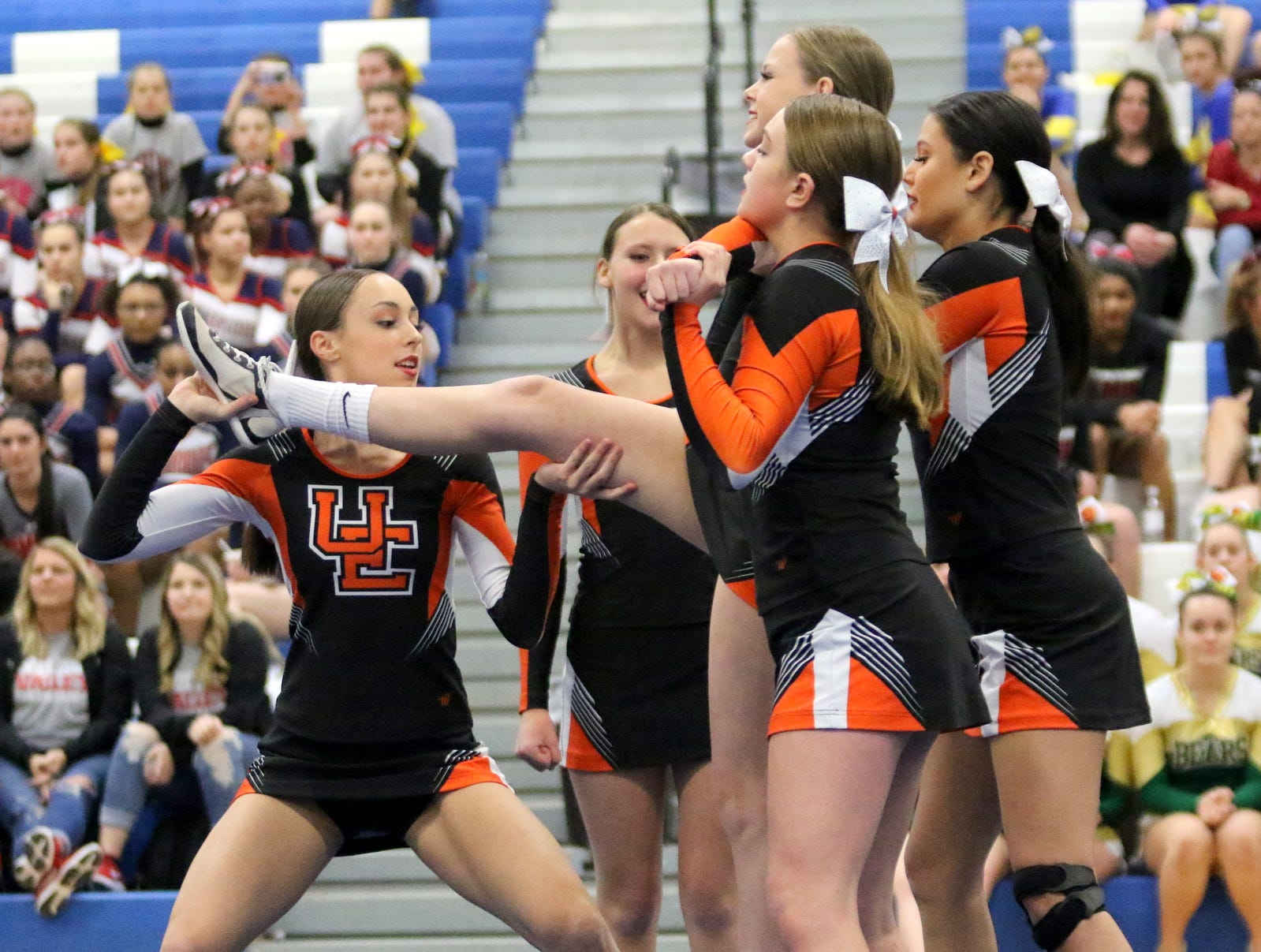 Union-Endicott junior varsity cheerleaders compete at the STAC Winter Cheer Championships on Feb. 16, 2019 at Horseheads Middle School.