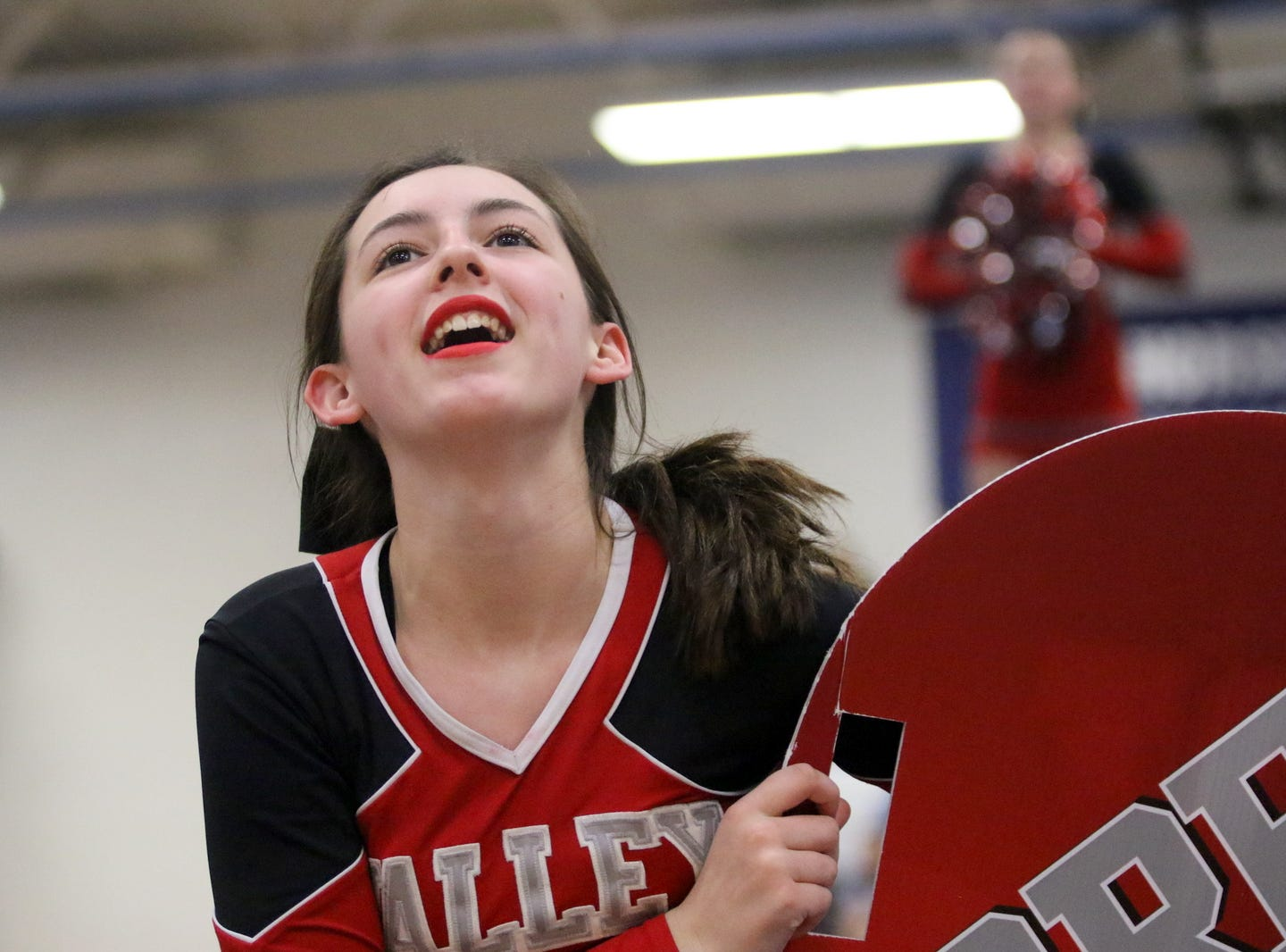 Chenango Valley junior varsity cheerleaders compete at the STAC Winter Cheer Championships on Feb. 16, 2019 at Horseheads Middle School.