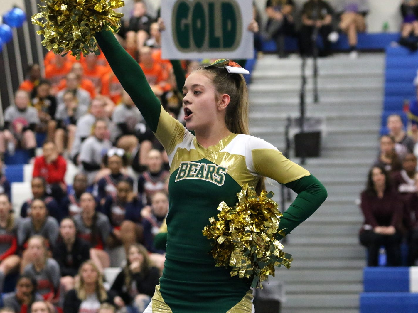 Vestal junior varsity cheerleaders compete at the STAC Winter Cheer Championships on Feb. 16, 2019 at Horseheads Middle School.