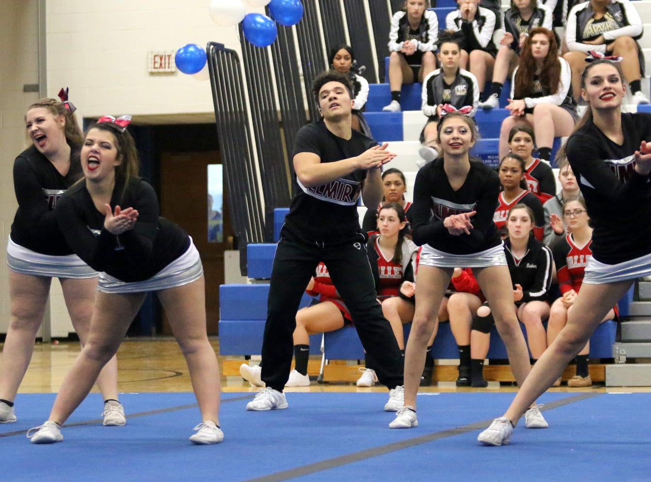 Elmira varsity cheerleaders compete at the STAC Winter Cheer Championships on Feb. 16, 2019 at Horseheads Middle School.