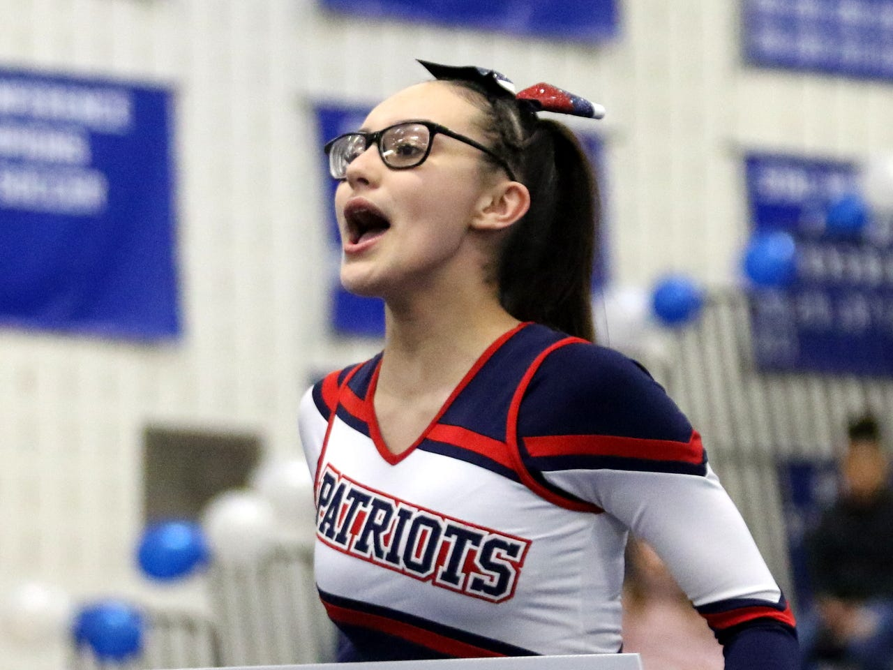 Binghamton varsity cheerleaders compete at the STAC Winter Cheer Championships on Feb. 16, 2019 at Horseheads Middle School.