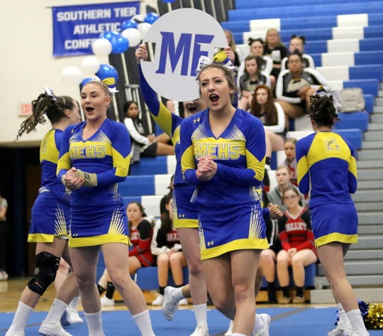 Maine-Endwell varsity cheerleaders compete at the STAC Winter Cheer Championships on Feb. 16 at Horseheads Middle School.