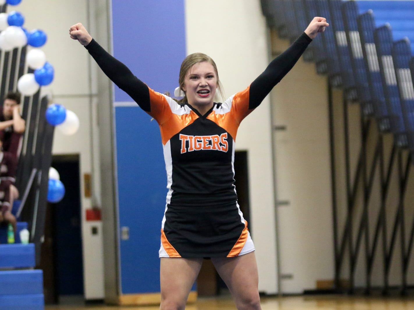 Union-Endicott varsity cheerleaders compete at the STAC Winter Cheer Championships on Feb. 16, 2019 at Horseheads Middle School.