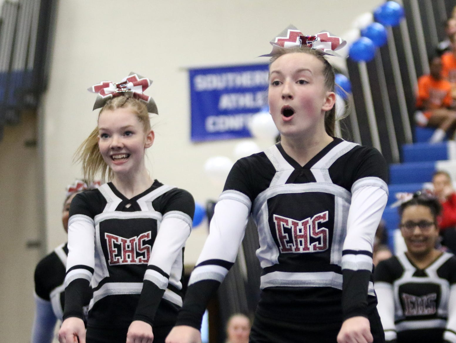 Elmira junior varsity cheerleaders compete at the STAC Winter Cheer Championships on Feb. 16, 2019 at Horseheads Middle School.