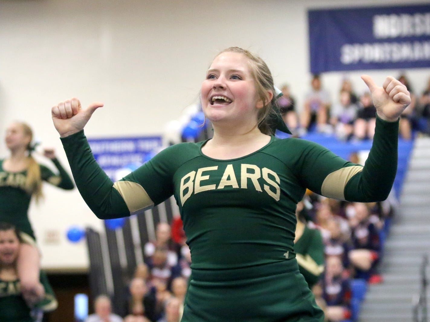 Vestal varsity cheerleaders compete at the STAC Winter Cheer Championships on Feb. 16, 2019 at Horseheads Middle School.