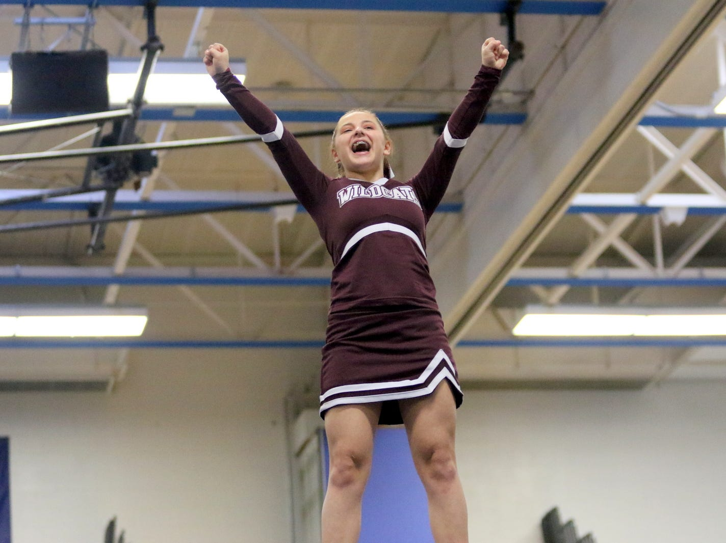 Johnson City junior varsity cheerleaders compete at the STAC Winter Cheer Championships on Feb. 16, 2019 at Horseheads Middle School.