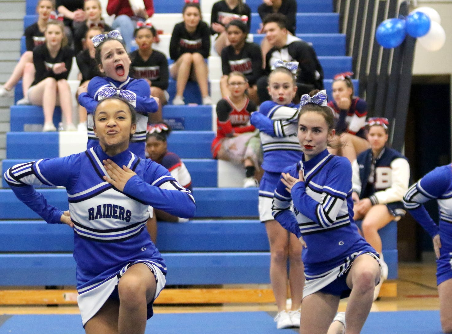 Horseheads junior varsity cheerleaders compete at the STAC Winter Cheer Championships on Feb. 16, 2019 at Horseheads Middle School.