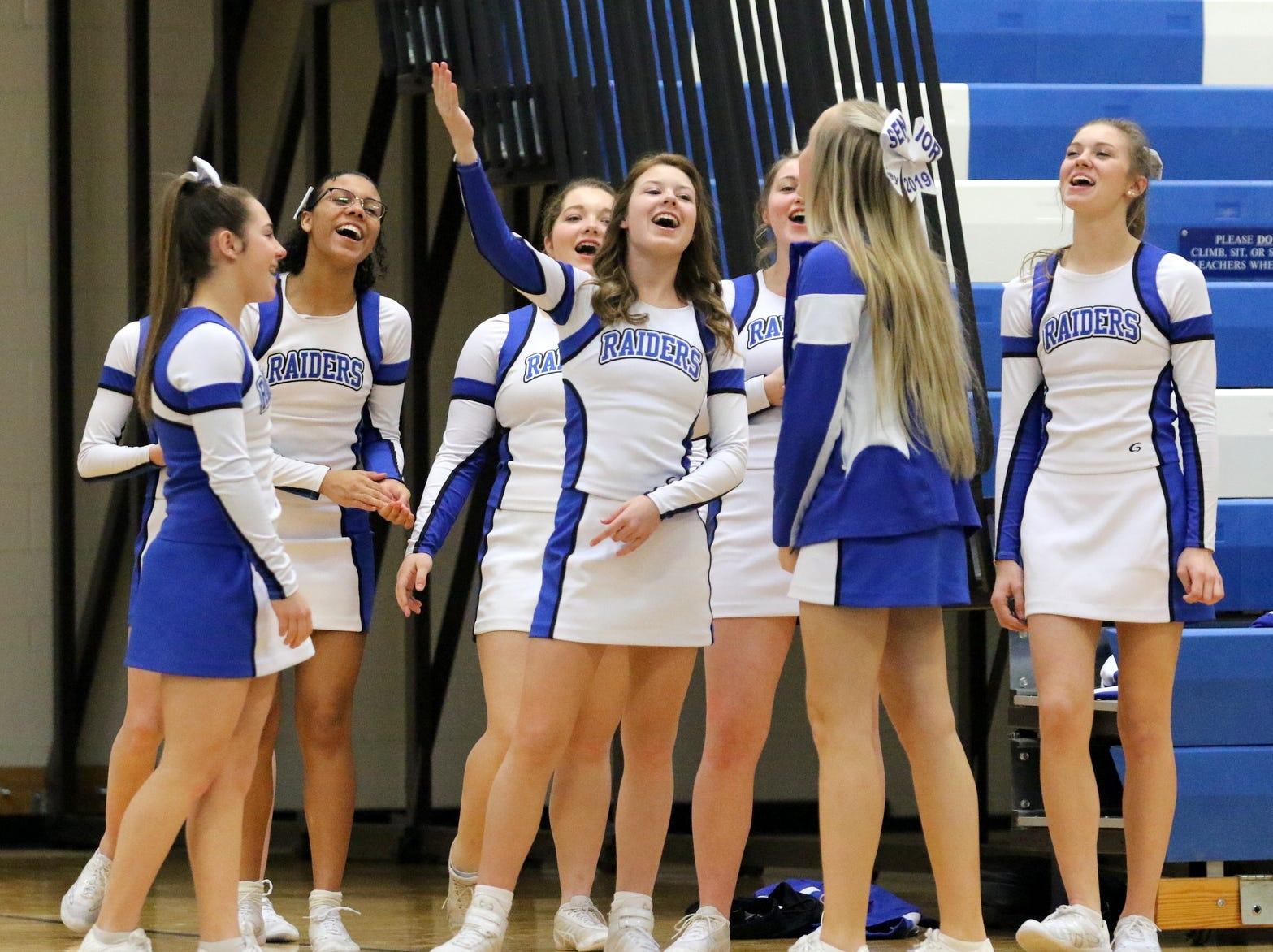 "Horseheads varsity cheerleaders sing ""Happy Birthday"" to a teammate at the STAC Winter Cheer Championships on Feb. 16, 2019 at Horseheads Middle School. The Horseheads varsity didn't compete because of athlete illness."