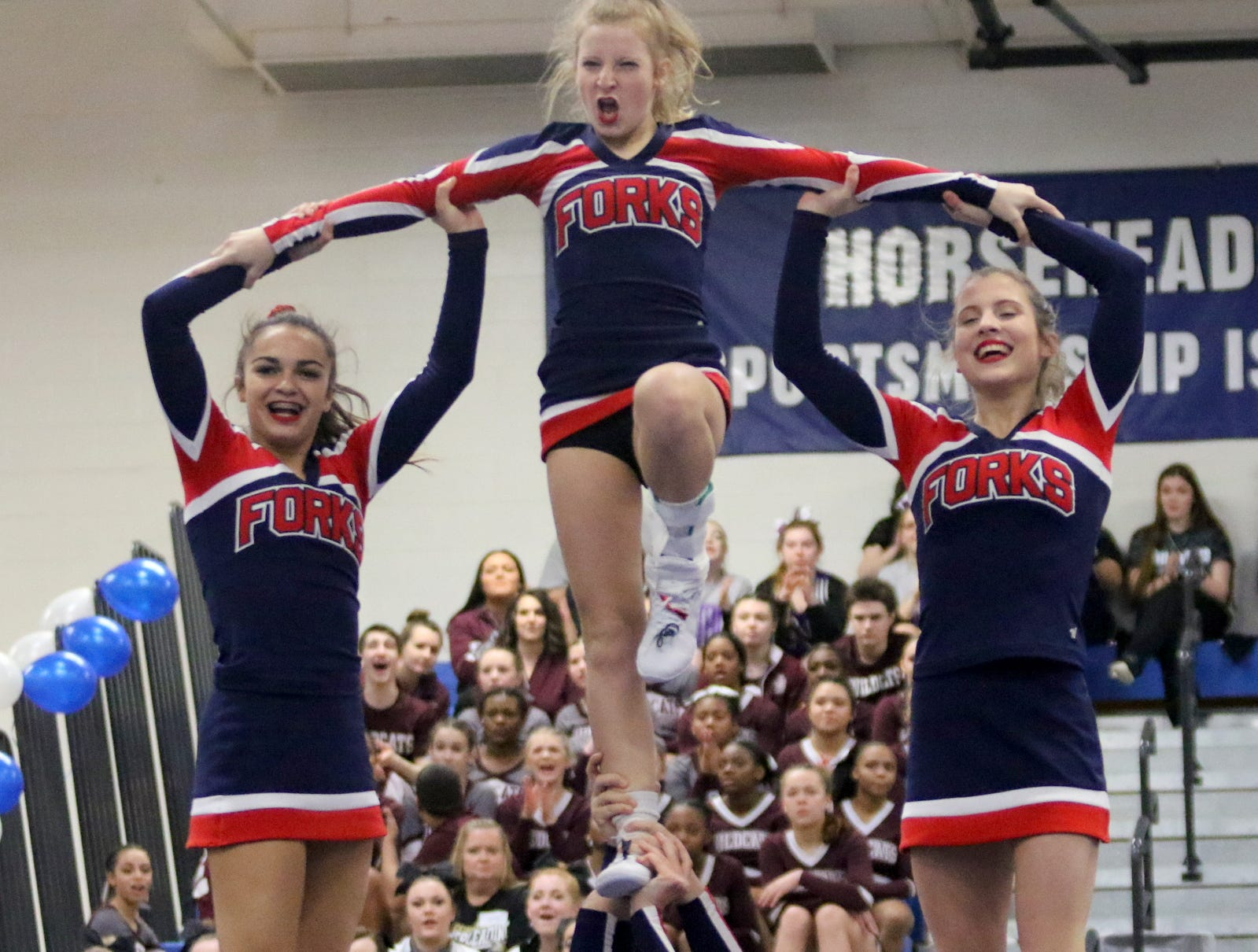 Chenango Forks varsity cheerleaders compete at the STAC Winter Cheer Championships on Feb. 16, 2019 at Horseheads Middle School.