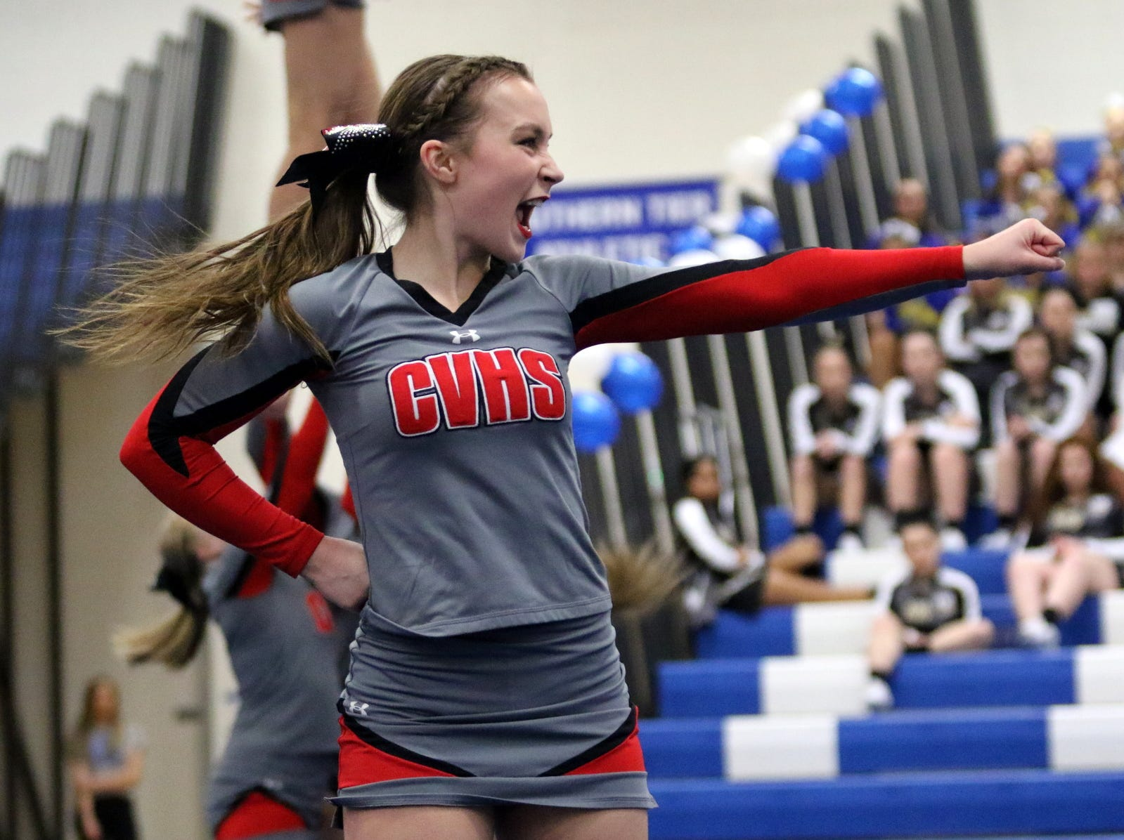 Chenango Valley varsity cheerleaders compete at the STAC Winter Cheer Championships on Feb. 16, 2019 at Horseheads Middle School.
