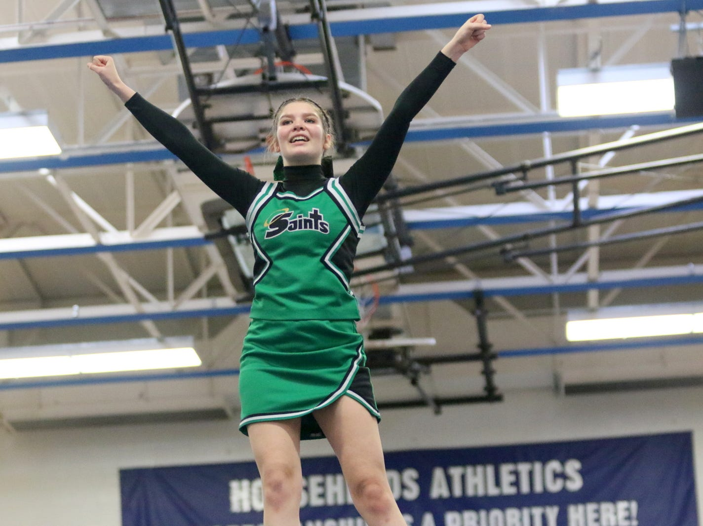 Binghamton Seton Catholic Central varsity cheerleaders compete at the STAC Winter Cheer Championships on Feb. 16, 2019 at Horseheads Middle School.