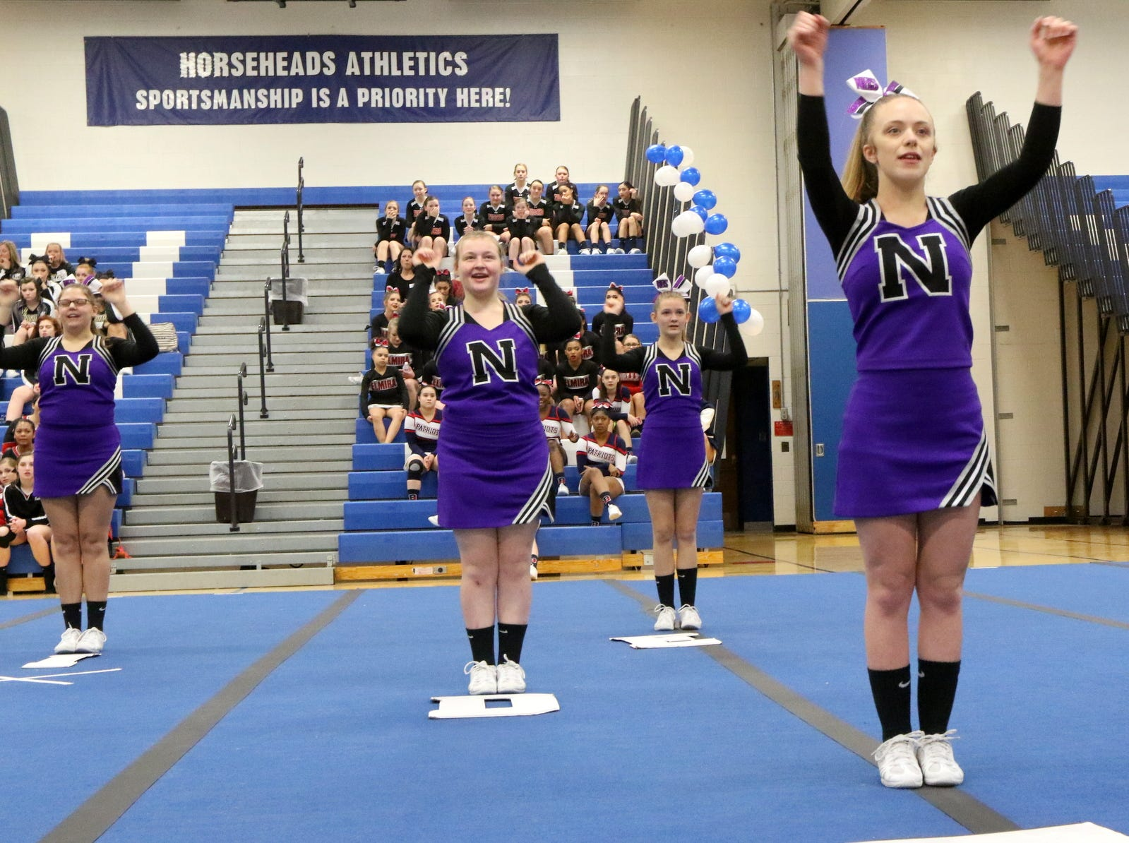 Norwich varsity cheerleaders compete at the STAC Winter Cheer Championships on Feb. 16, 2019 at Horseheads Middle School.
