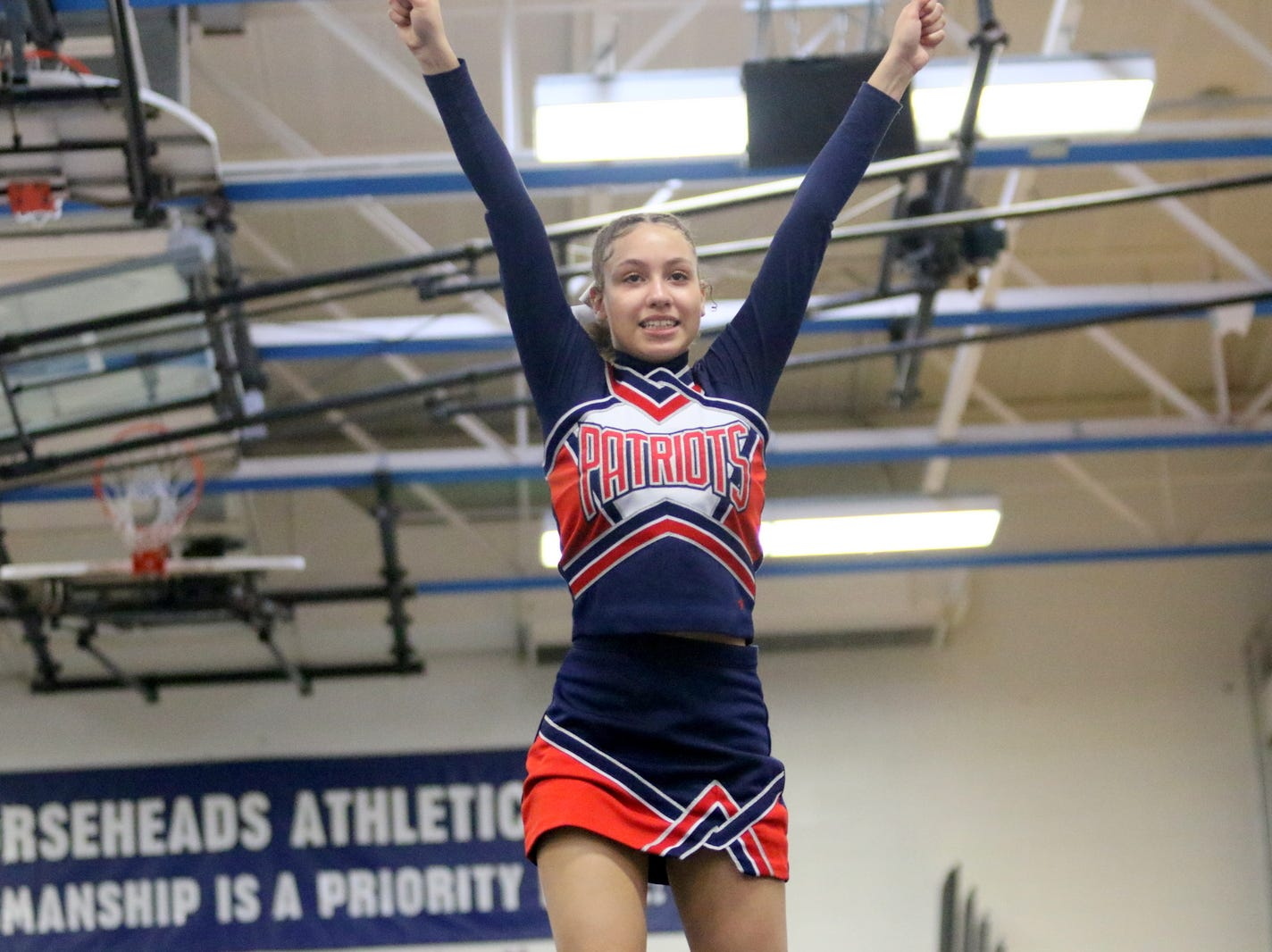 Binghamton junior varsity cheerleaders compete at the STAC Winter Cheer Championships on Feb. 16, 2019 at Horseheads Middle School.
