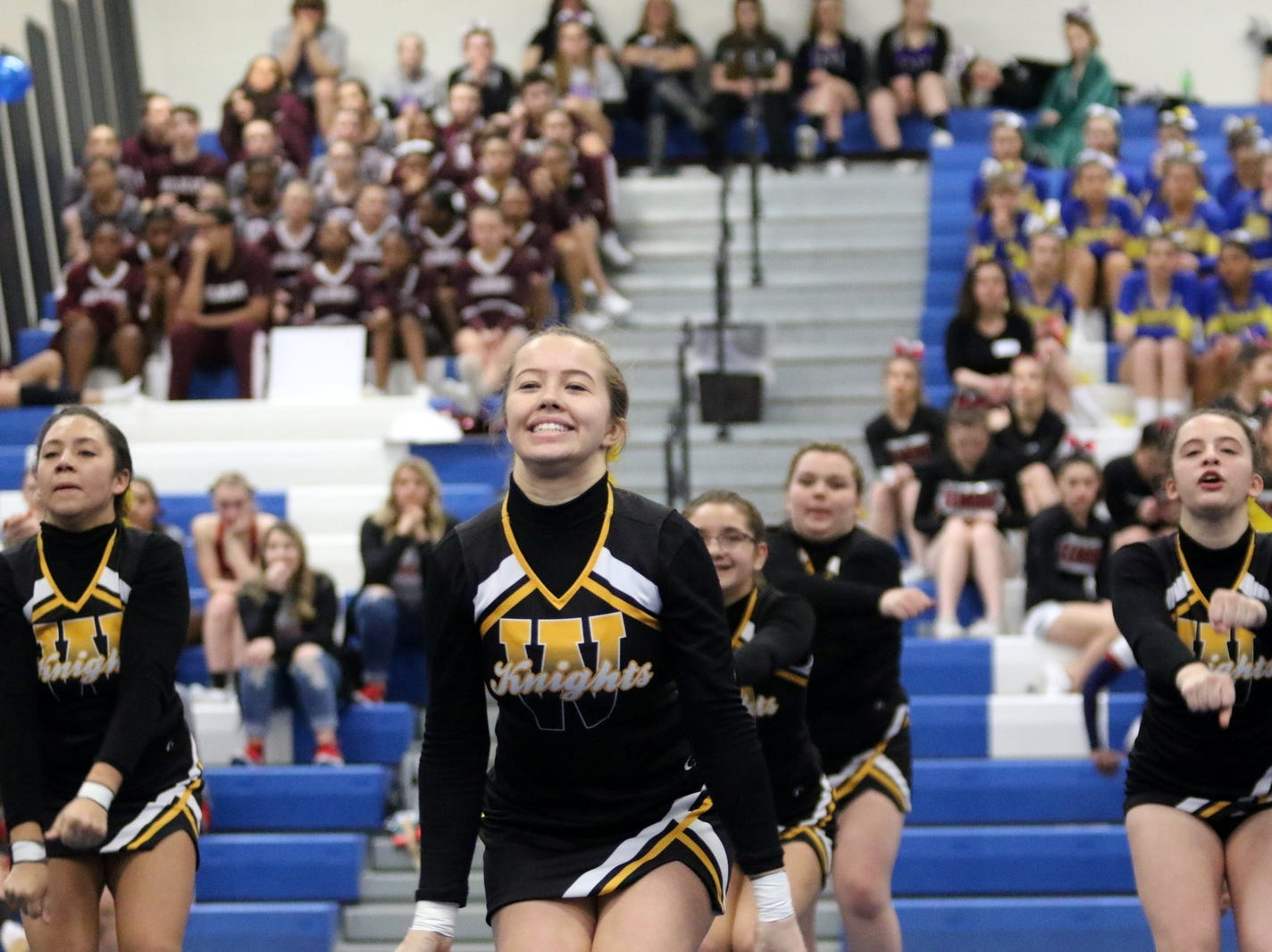 Windsor varsity cheerleaders compete at the STAC Winter Cheer Championships on Feb. 16, 2019 at Horseheads Middle School.