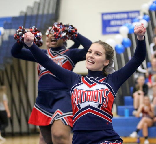 Binghamton junior varsity cheerleaders compete at the STAC Winter Cheer Championships on Feb. 16 at Horseheads Middle School.