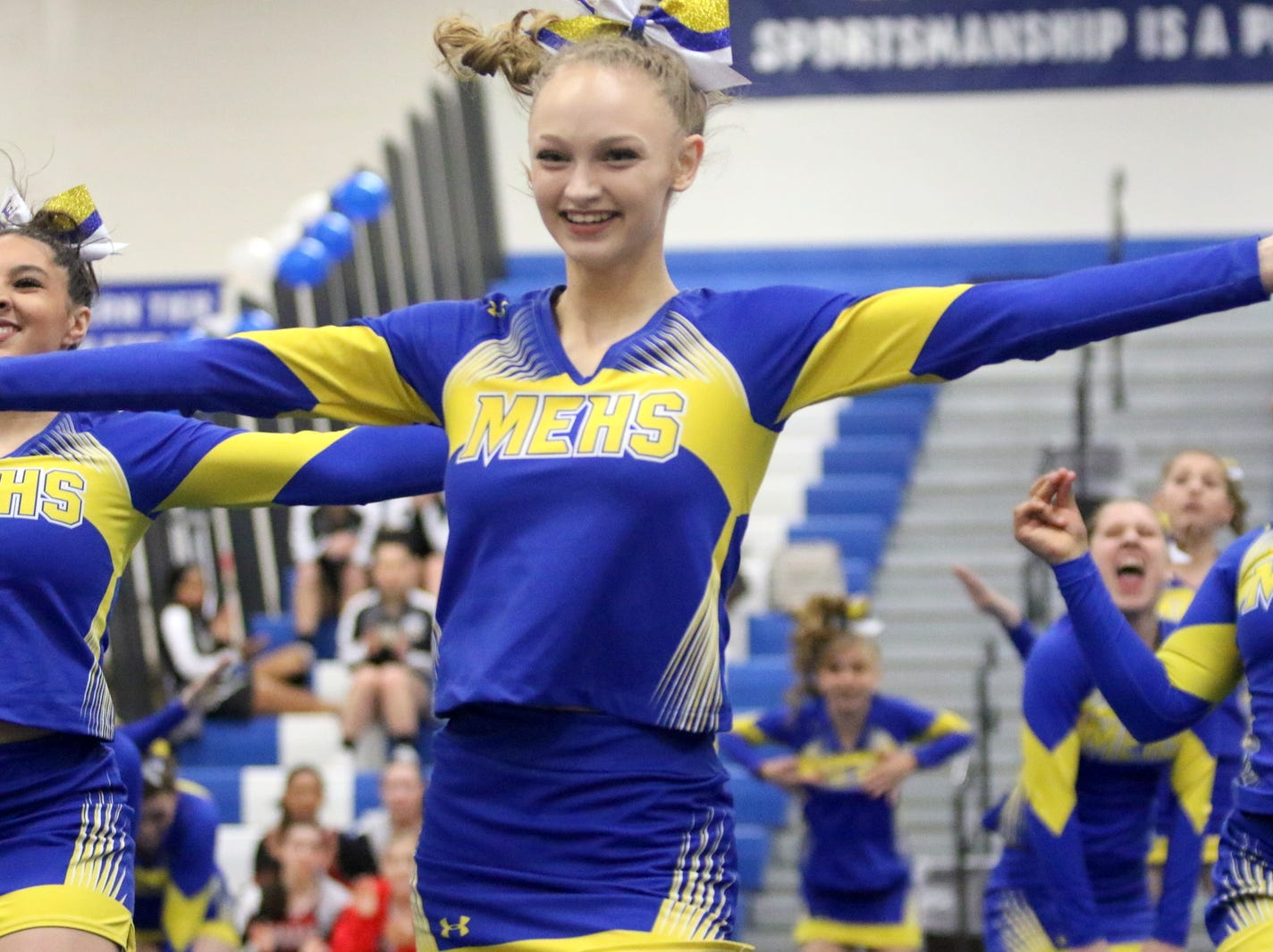 Maine-Endwell varsity cheerleaders compete at the STAC Winter Cheer Championships on Feb. 16, 2019 at Horseheads Middle School.
