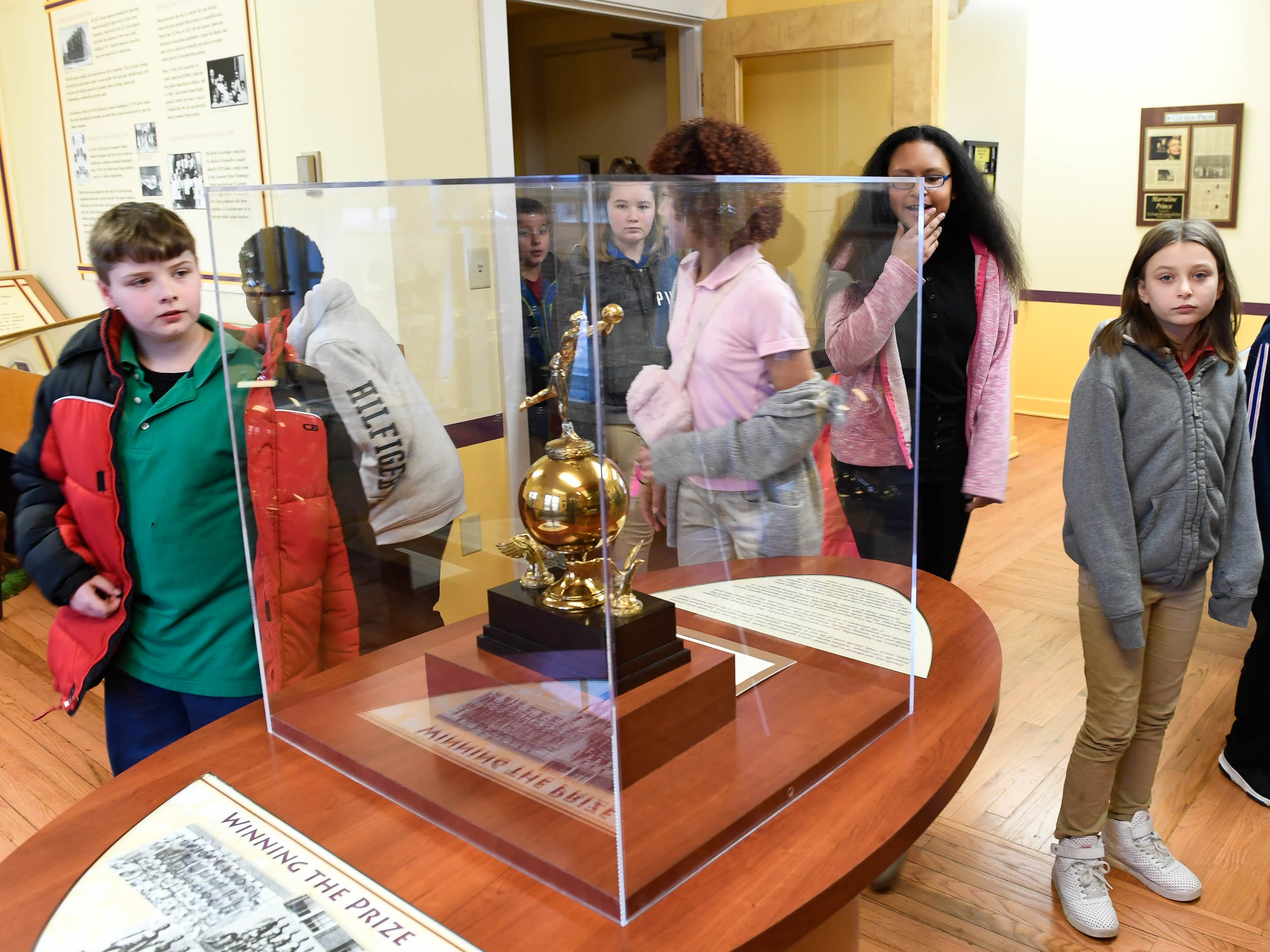Dexter Elementary fifth graders on a tour of the Evansville African American Museum on Friday, February 15, 2019.