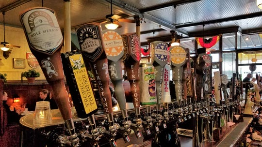 A few of the 49 beer taps at the Gerst Haus.