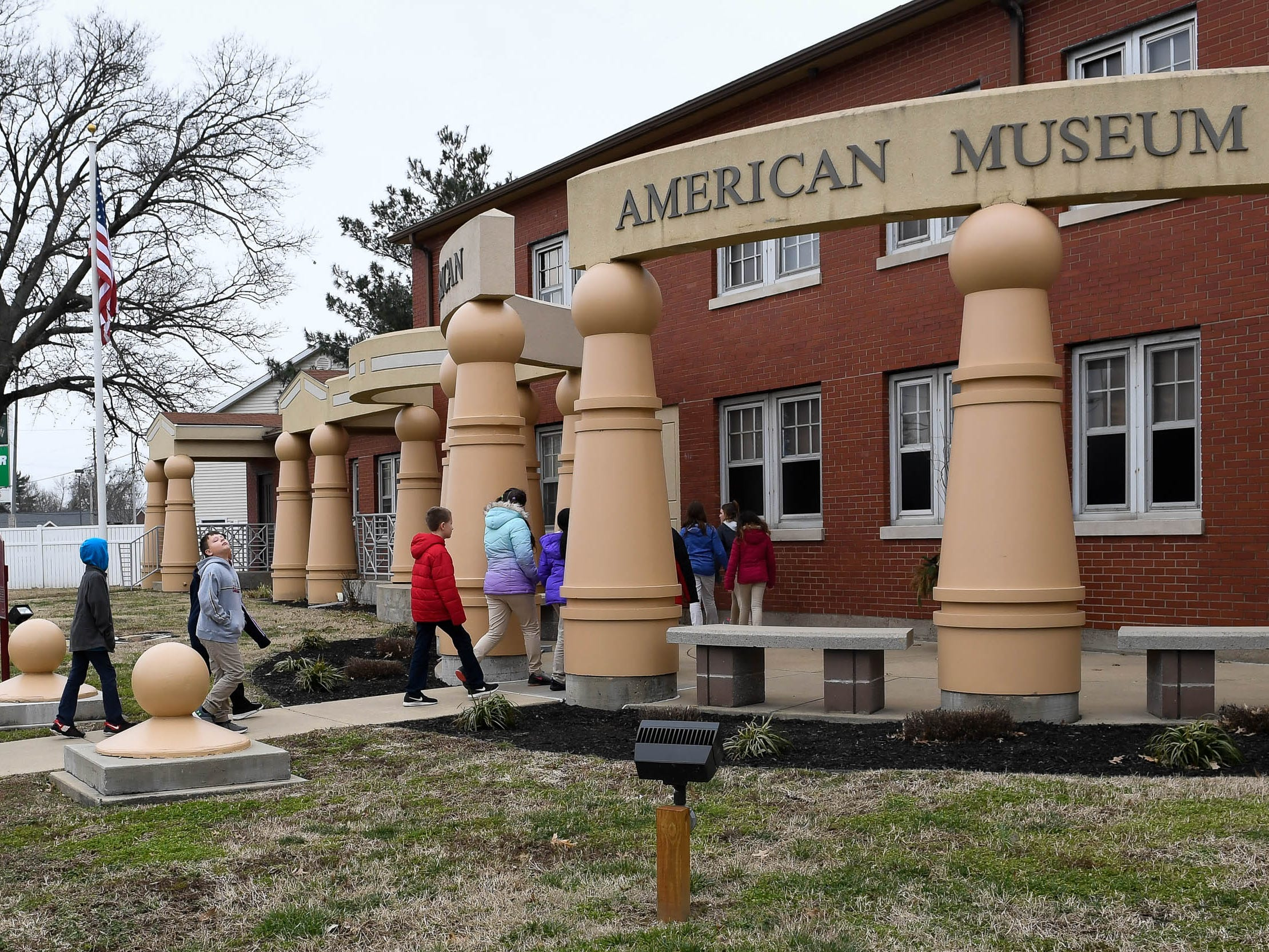 Dexter Elementary fifth graders arrive at the Evansville African American Museum on Lincoln Avenue for a tour Friday, February 15, 2019.