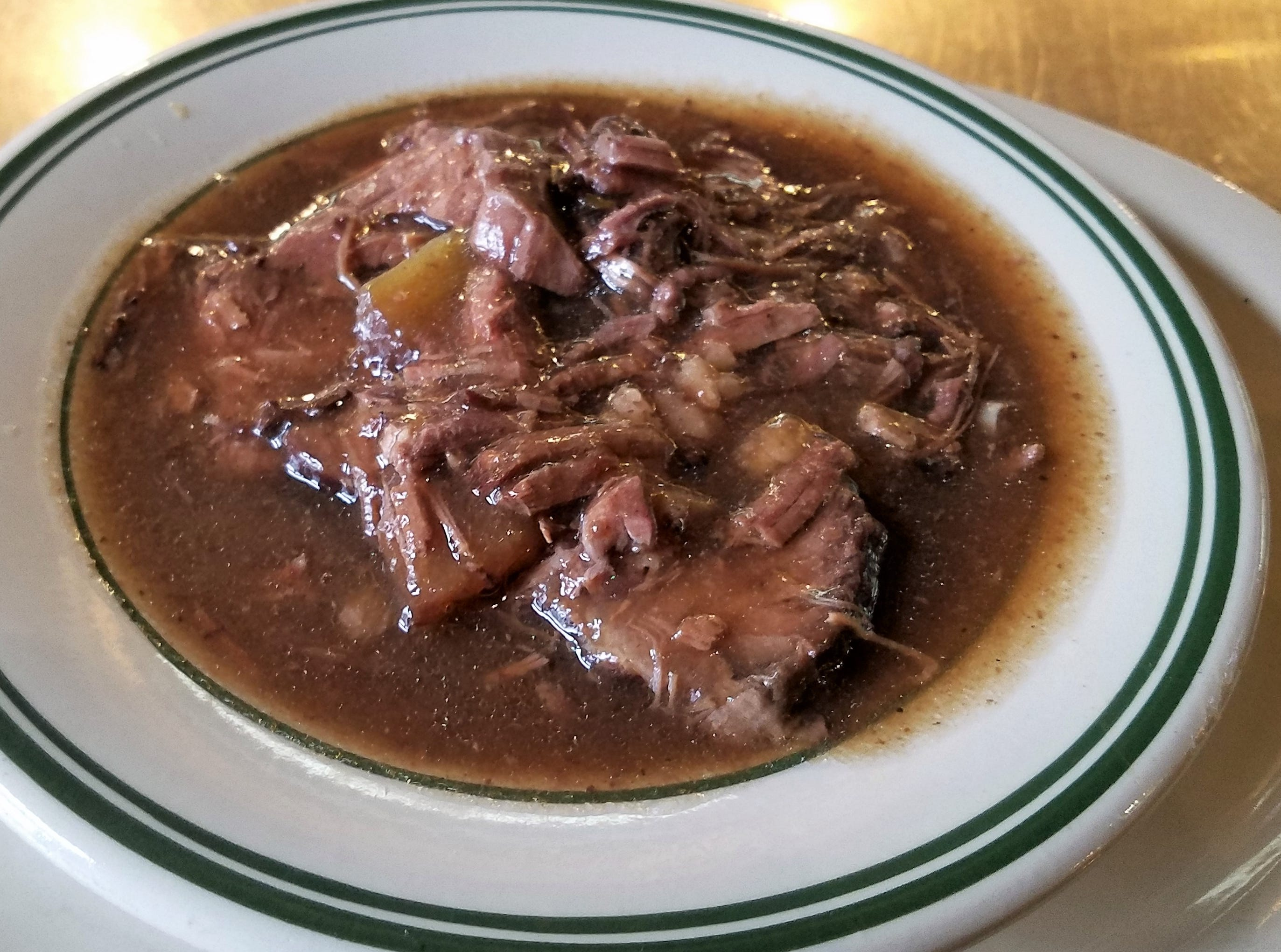 Sauerbraten is a favorite beef dish at the Gerst Haus, marinated for days in vinegar and wine before slow-cooking.